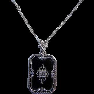 Art Deco Sterling Silver Onyx Diamond Pendant Necklace