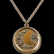 Victorian Art Nouveau Gold Filled Roses Locket Necklace