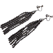 Antique Victorian Cut Steel Bead Tassel Earrings