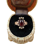 Antique Victorian 14K Rose Gold Garnet Cabochon Seed Pearl Ring