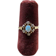 Victorian 14K Gold Opal Diamond Ring