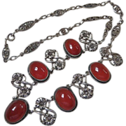 Art Deco Sterling Silver and Silver Plate Carnelian Necklace