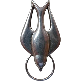 Vintage Sterling Silver Dove with Halo Pendant
