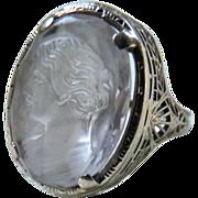 Art Deco 14K Gold Filigree Carved Quartz Cameo Ring J.J. White