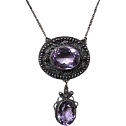 Antique Victorian Sterling Silver Amethyst Drop Necklace