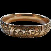 Victorian Gold Filled Repousse Floral Bangle Bracelet