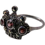 Vintage Crown Garnet Marcasite Sterling Silver Ring -Large Size