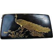 Signed Antique Japanese Asian Gilt Metal Peacock Card Case Holder