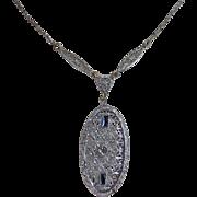 Art Deco Filigree Pendant Necklace