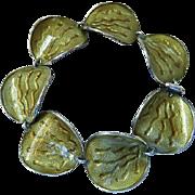 Scandinavian Modernist Guilloche Enamel Sterling Silver Bracelet Einar Modahl Norway