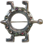 Southwest Native American Sterling Sand Cast Gemstone Turtle Pin Brooch Marked