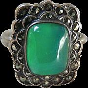 Art Deco Sterling Silver Chrysoprase Marcasite Ring Uncas