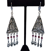 Vintage Sterling Silver Filigree Garnet Dangle Earrings