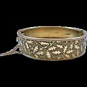 Vintage Art Deco Oak Leaf Acorn Design Bangle Bracelet