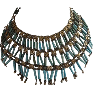 Art Deco Egyptian Revival Turquoise Faience Bead Collar Necklace