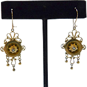Antique Victorian Gold Filled Earrings with Pearls