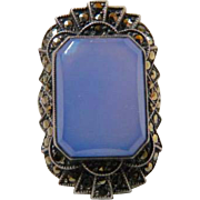 Art Deco Blue Chalcedony Maracasite Sterling Silver Ring