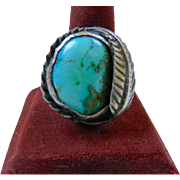 Large Turquoise Native American Signed Sterling Silver Ring