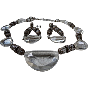 Art Deco Crystal Necklace Earring Set