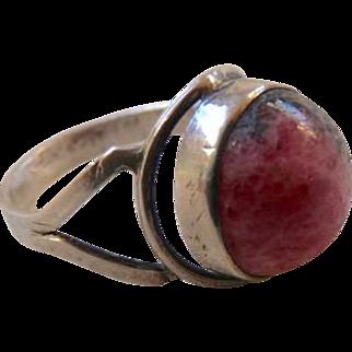 Vintage Hallmarked Sterling Silver Rhodonite Ring Size7