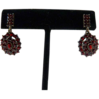 Art Deco Bohemian Garnet Earrings 900 Silver