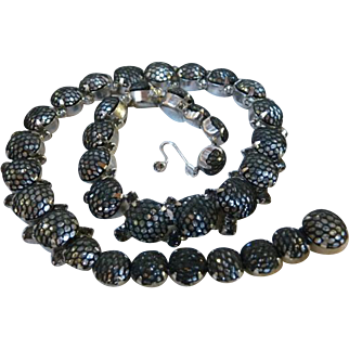 Rare Mid-Century Kramer of New York Netted Rhinestone Necklace