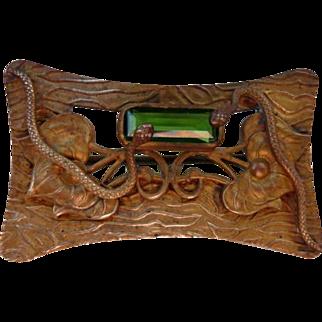 Antique Art Nouveau Brass Sash Pin with Snakes