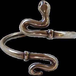 Vintage Art Deco Sterling Silver Snake Bangle Cuff Bracelet