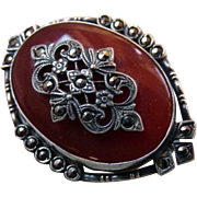 Art Deco Sterling Silver Marcasite Carnelian Glass Brooch Pin