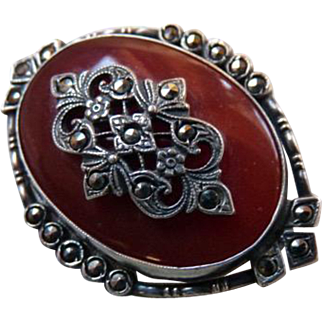Art Deco Sterling Silver Marcasite Carnelian Glass Brooch Pin