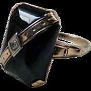 Art Deco 10K Gold Onyx White Sapphire Ring