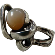 Vintage Artsy Sterling Silver Moonstone Ring