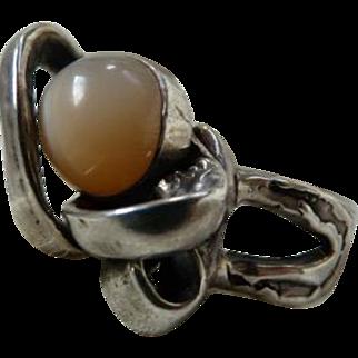 Vintage Artsy Sterling Silver Moonstone Ring