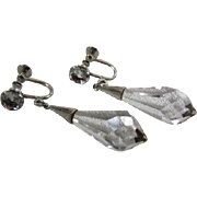 Art Deco Sterling Silver Rock Crystal Quartz Briolette Earrings
