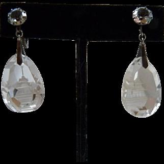 Vintage Japanese Sterling Silver Rock Crystal Quartz Pagoda Earrings