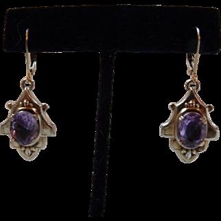 Art Deco Victorian Style Gold Filled Amethyst Earrings