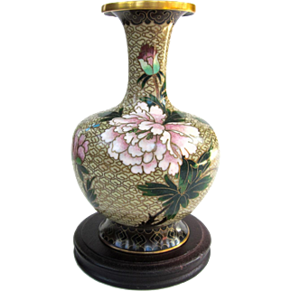 A Colorful Vintage Cloisonné Peony Vase On Stand