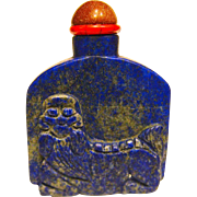 A Good Antique Chinese Snuff Bottle Lapis Lazuli Foo Dog