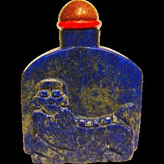 A Good Antique Chinese Snuff Bottle Lapis Lazuli Foo Dog