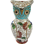 A Rare Old Chinese Cloisonné Owl Animal Figure