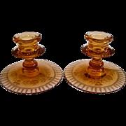 Hand Cut Fostoria Elegant Depression Glass Seville Amber Pink Candlesticks