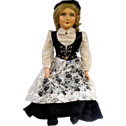 Beautiful Old Swiss Composition Doll Wonderfully Clothed