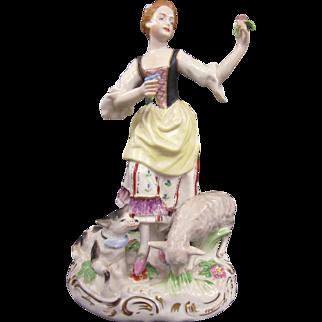 A Wonderful Vintage Dresden German Porcelain Woman Admiring Flowers