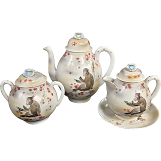 Ultra Rare Meiji Antique Japanese Tea Set Decorated With Macaque Monkeys