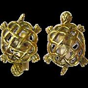 A Vintage Pair of Solid 14 Karat Gold Turtle Cufflinks