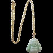 Beautiful Jadeite Buddha Pendant and 14K Adjustable Necklace