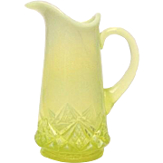 National Glass Company Vaseline Opalescent Diamond Spearpoint Tankard
