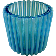 A J Beatty and Sons Blue Opalescent Rib Toothpick or Match Holder C1890 - Red Tag Sale Item