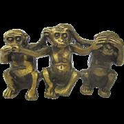 Old Chinese Gold Gilt Brass See No, Hear No, Speak No Evil Monkeys