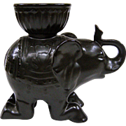 Wonderful Vintage Matte Black Ceramic Elephant Censer